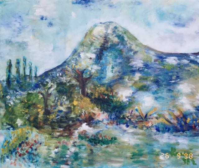 Oil on canvas painting of Minahasa volcano, Indonesia