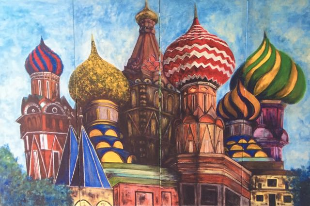 St Basil's Cathedral, Moscow - My Interpretation in acrylic on canvas
