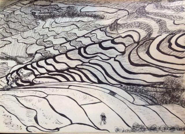 Paid fields ink on paper panting Bali Indonesia