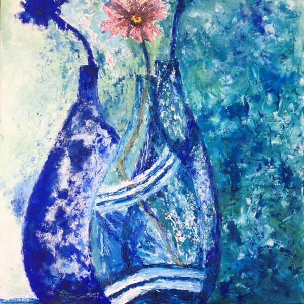 Original oil on canvas painting of a flower in a vase