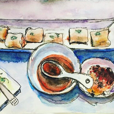 Rice Rolls Dim Sum is an original sketch in ink and watercolour on paper of the famous Chinese delicacy