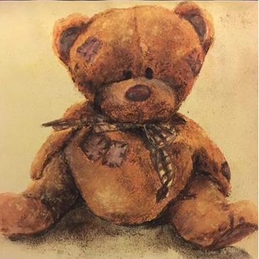 Bear Mascot pastel on paper