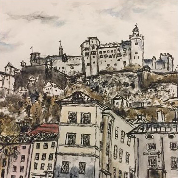 Sketch of The Fort on Salzburg watercolour and ink