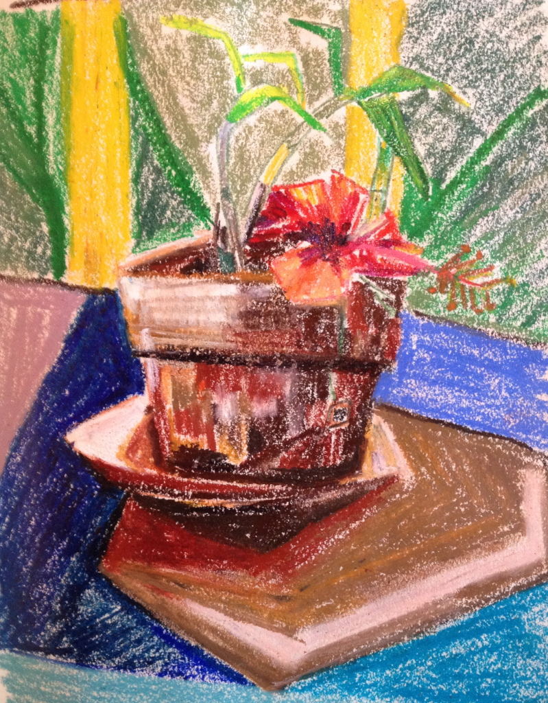Pastel still life painting of a plant on a table