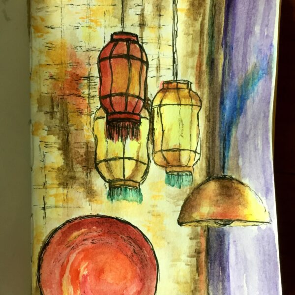 A Restaurant Interior is an ink and watercolour sketch