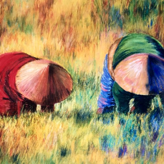 pastel painting workers in field