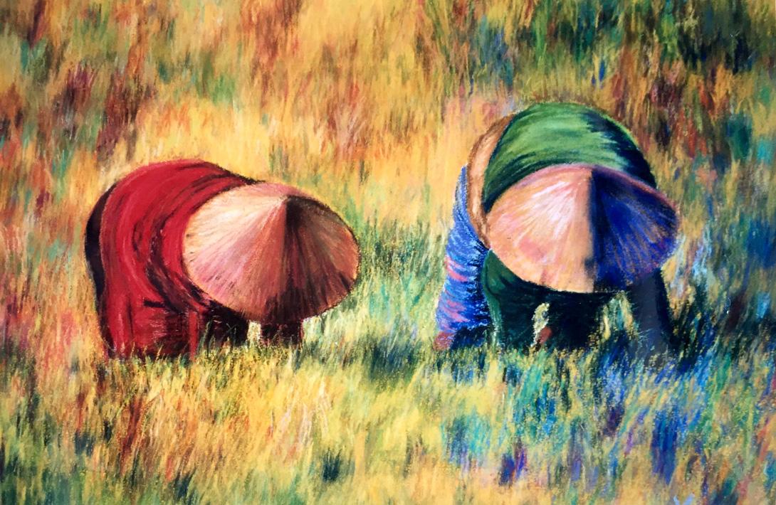 pastel painting workers in field