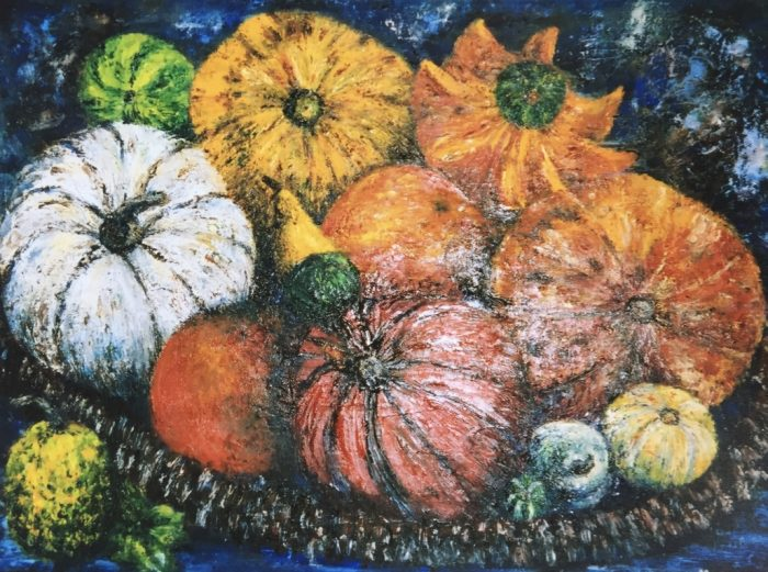Pastel painting of vegetables on a table