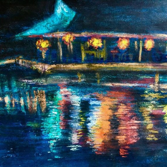Pastel painting of water reflection at night