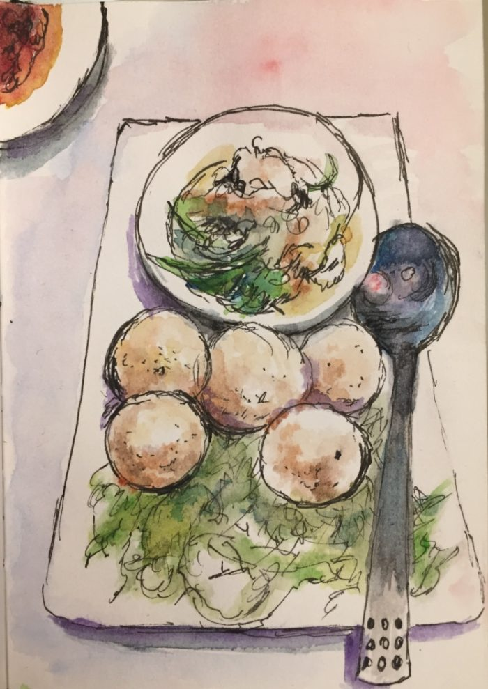 Fishball Delicacy watercolour and ink sketch