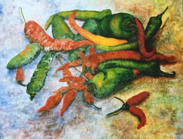 Mixed media painting of an assortment of red and green chilli peppers