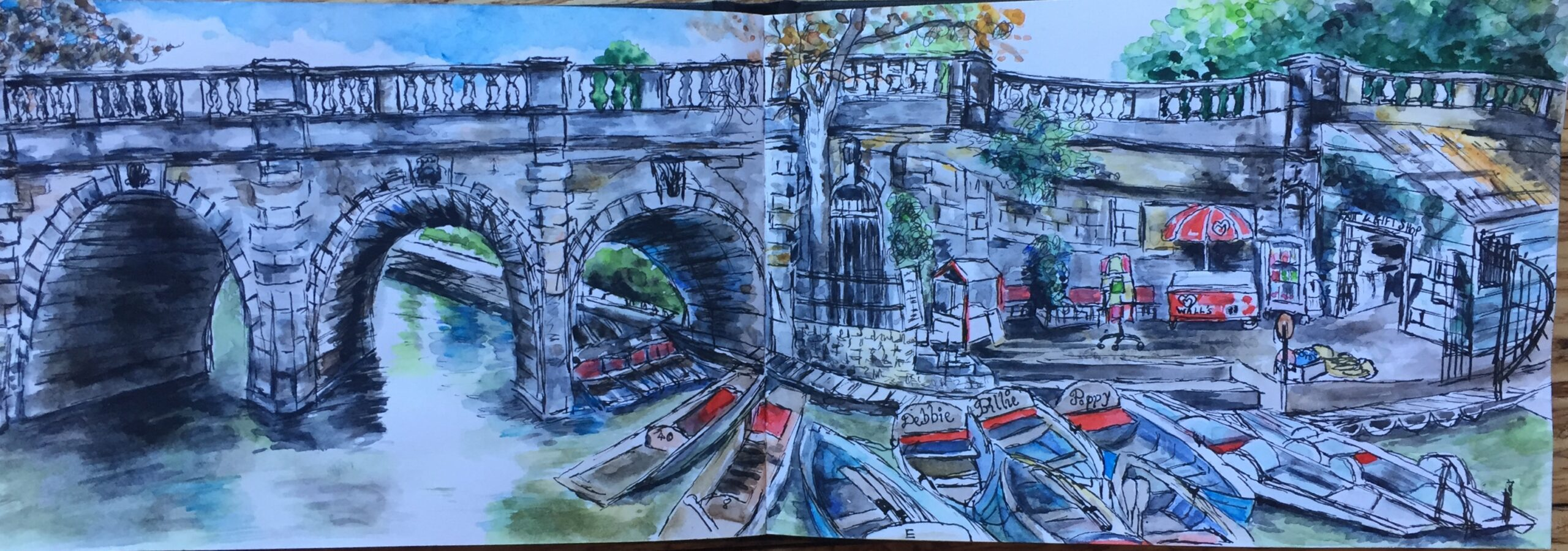 Watercolour sketch of View from Magdalen College - Punting in Oxford