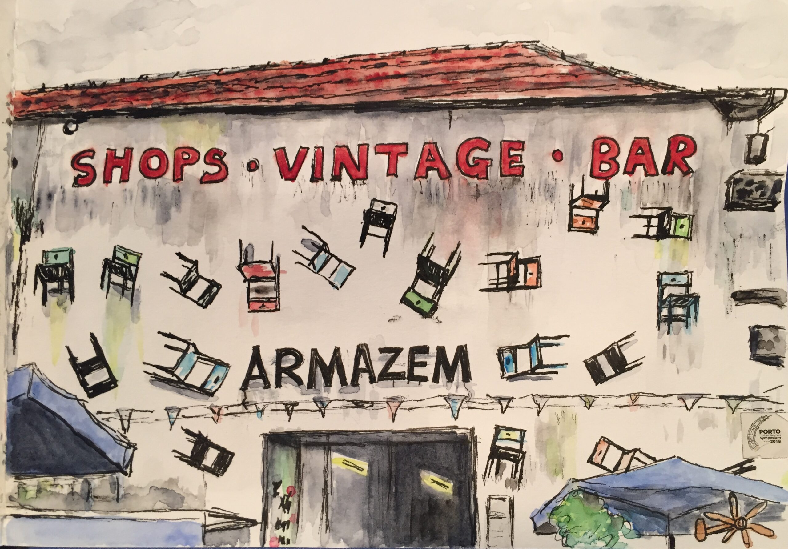 Watercolour sketch of vintage shops and bar in Porto