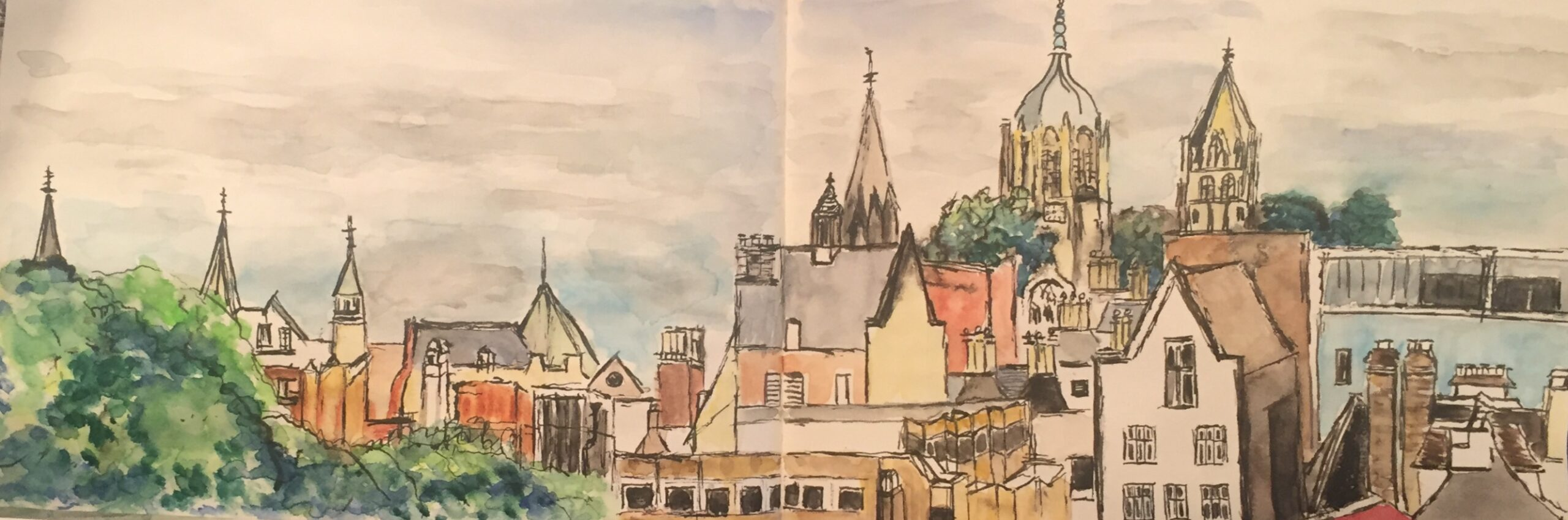 Watercolour painting of The Oxford city Skyline from Westgate