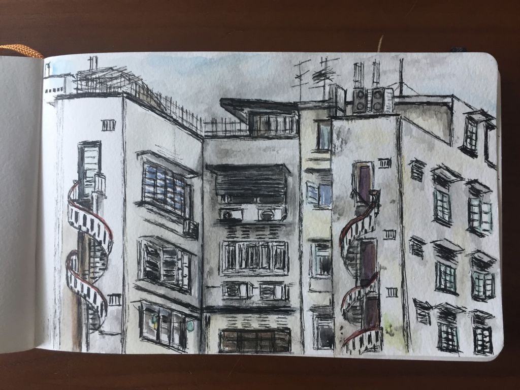 Watercolour and ink sketchbook art of Little India, Singapore
