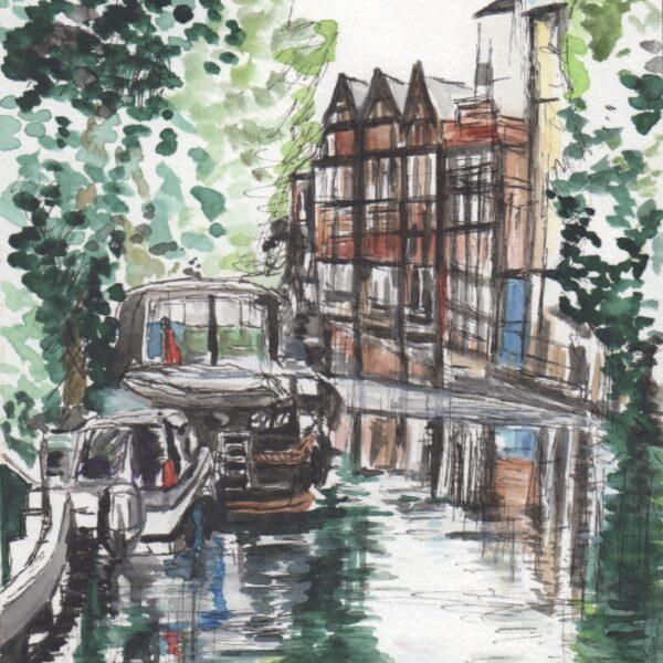 At Osney Locks, Oxford Watercolour Sketch