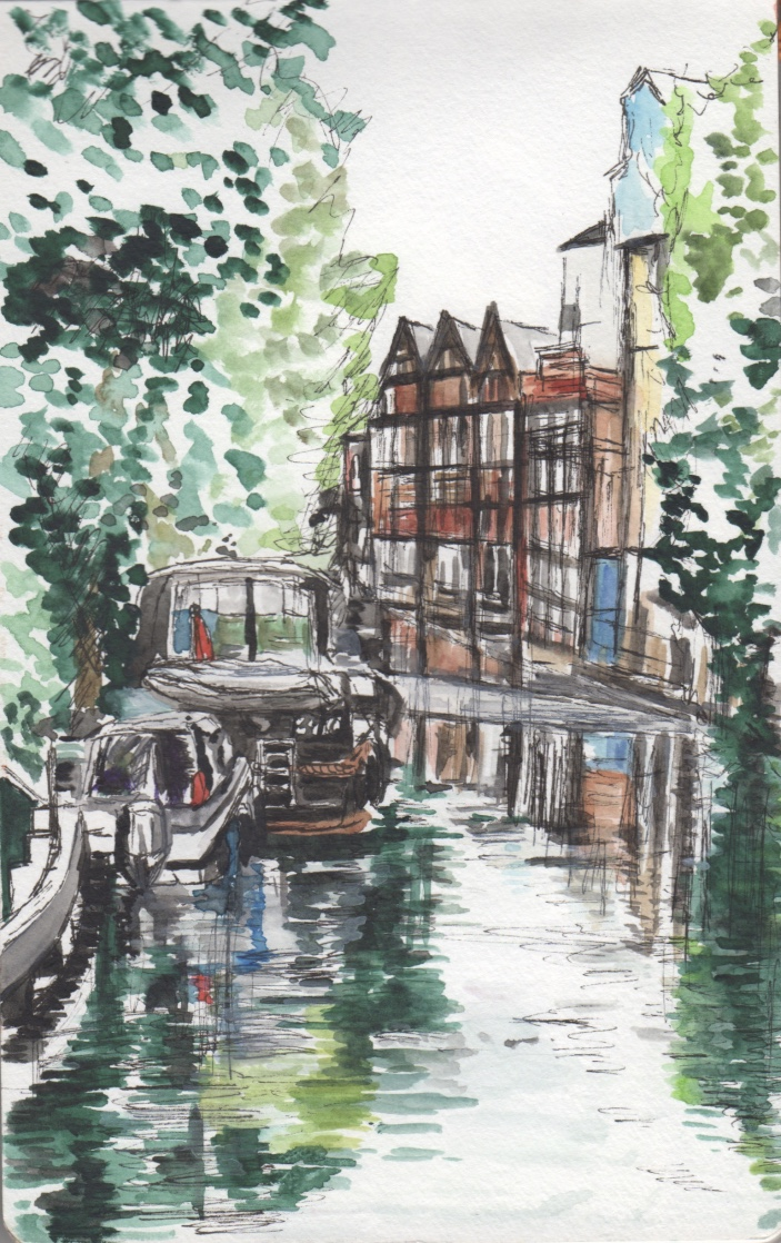 At Osney Locks, Oxford Watercolour Sketch