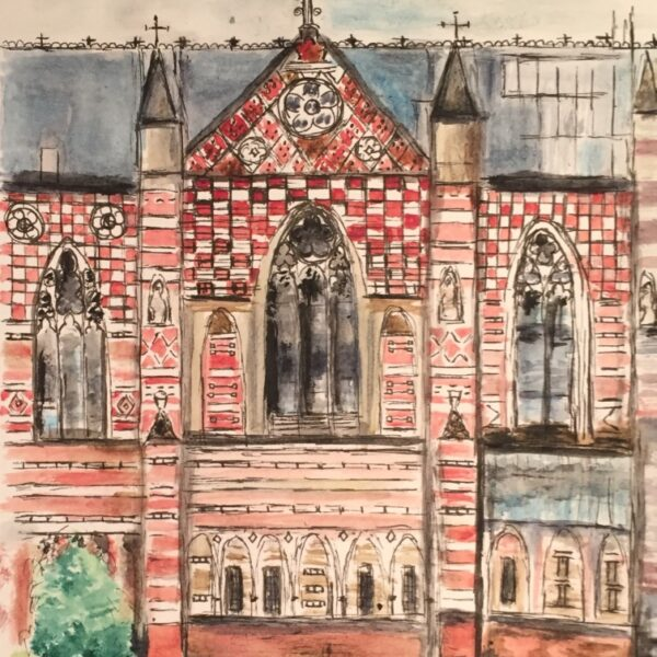 Keble College, University of Oxford watercolour and ink original painting