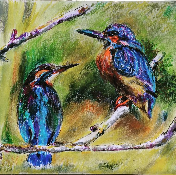 """""""A pair of Kingfisher birds sitting together on a tree branch"""" is a pastel painting"""