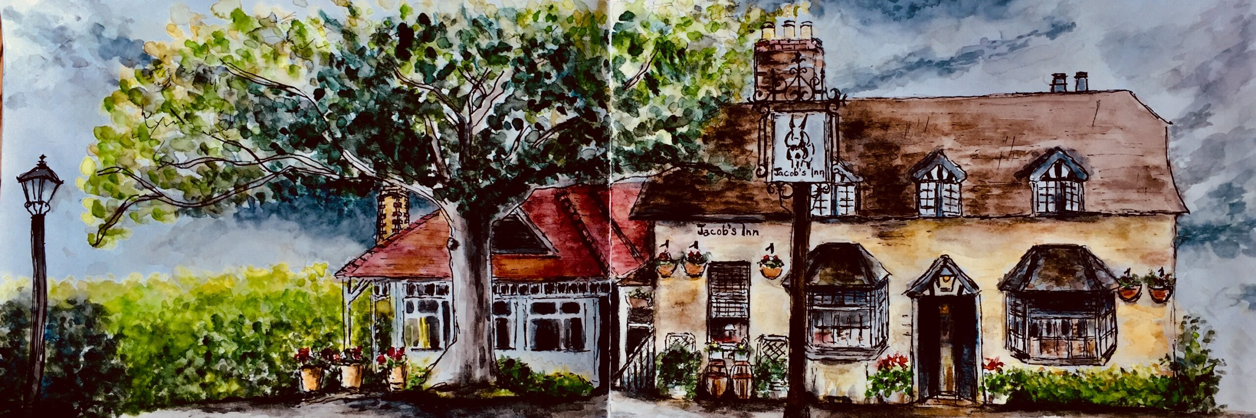 Jacob's Inn at Wolvercote Oxfordshire Watercolour and Ink Original Art Painting