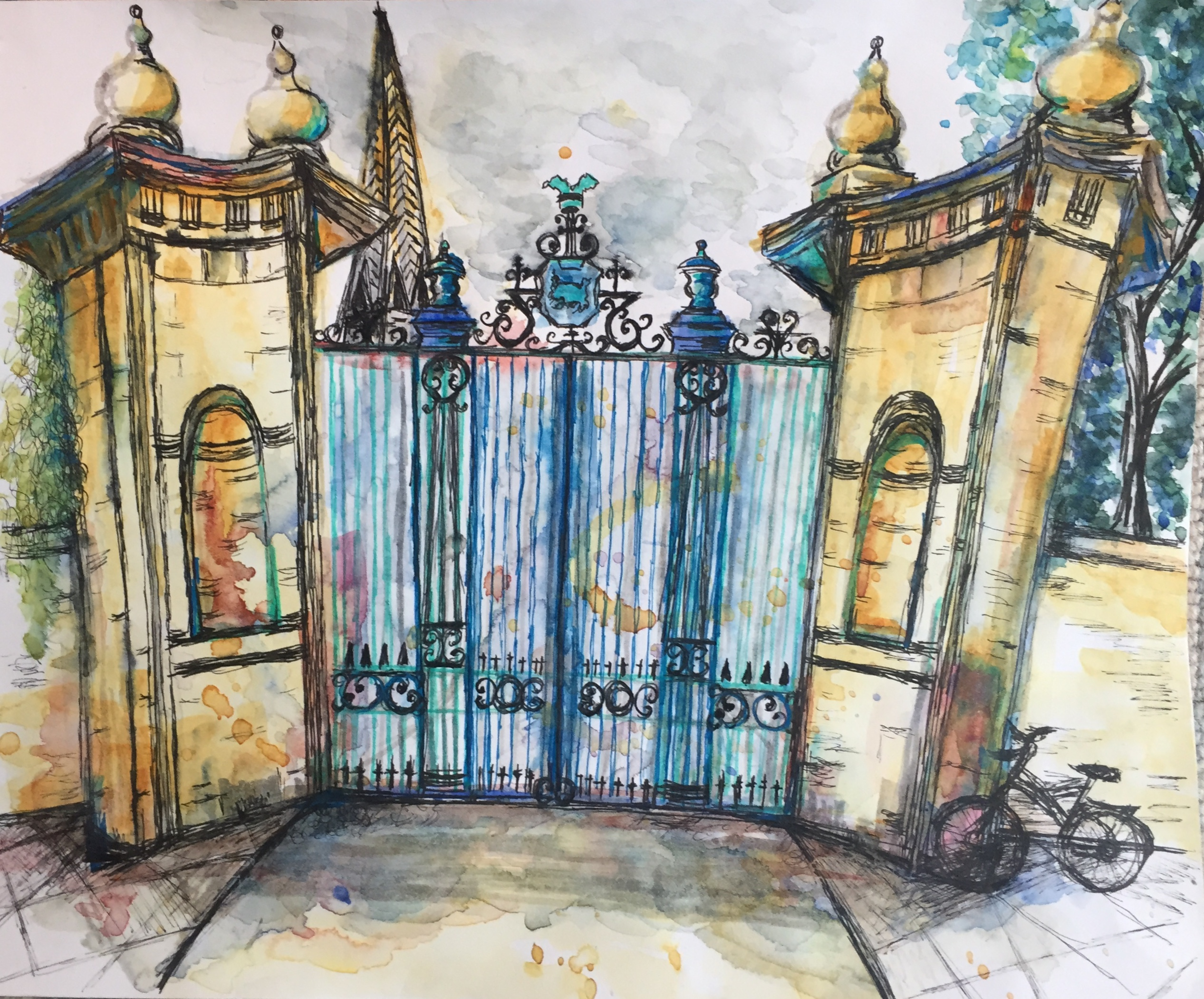 Trinity College, Oxford Main entrance gate watercolour and ink