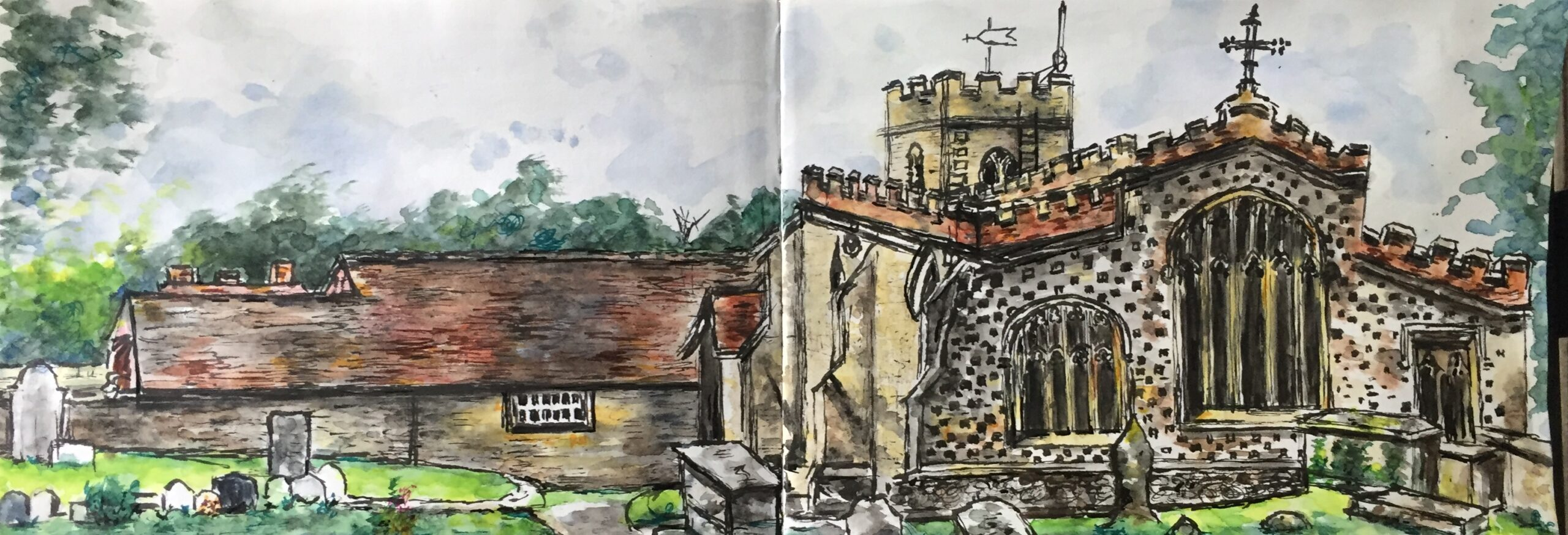 Original watercolour and ink painting of St. Mary the Virgin Church at Ewelme, Oxfordshire