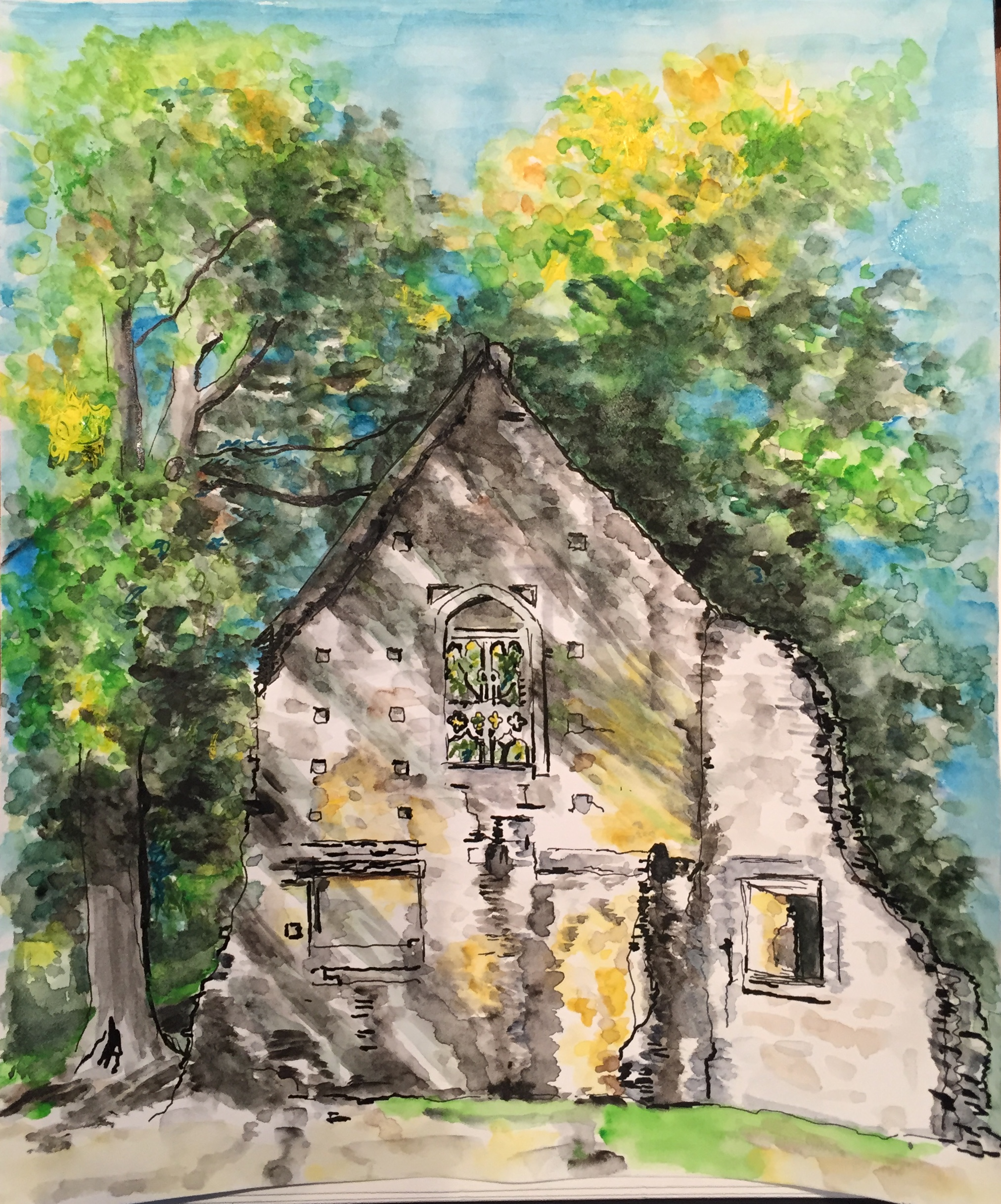 Watercolour Painting of Minster Lovell Hall Ruins in Summertime